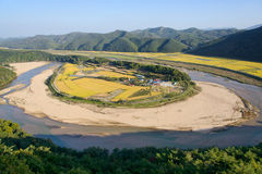 View of Hoeryongpo betrenched meander Stock Images