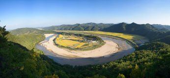 View of Hoeryongpo betrenched meander Royalty Free Stock Photos