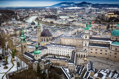 View from Hohensalzburg castle on city of Salzburg Stock Photos