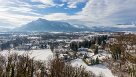 View from Hohensalzburg Castle towards the Austrian side of the Untersberg in the winter, Salzburg, Austria Stock Photography