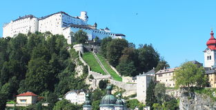 Festung Hohensalzburg. A view of the Hohensalzburg fortress from the rooftop of a Universität Salzburg building Royalty Free Stock Images