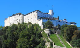 Festung Hohensalzburg. A view of the Hohensalzburg fortress from the rooftop of a Universität Salzburg building Stock Image
