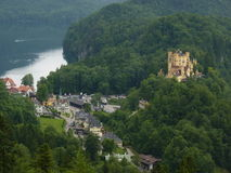 View of Hohenschwangau Castle and Alpsee. The beautiful view of Hohenschwangau Castle and Alpsee, Bavaria, Germany Royalty Free Stock Image