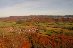 A view from Hohenzollern castle in Swabian. During autumn, Germany Royalty Free Stock Images