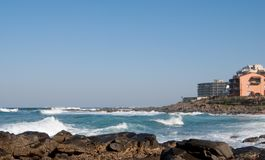View of holiday accommodation at Ballito, KZN, South Africa. Part of the coastline of Ballito, KZN, South Africa, looking across one of the many inlets lined by Royalty Free Stock Photo