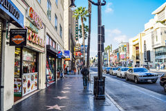 View of Hollywood Boulevard at sunset Stock Image