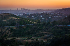 View of Hollywood and hills in Griffith Park at sunset, from Gri Stock Photo