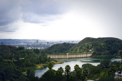 View of the Hollywood Reservoir. Los Angeles. Royalty Free Stock Image