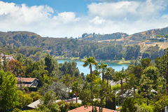 View of Hollywood Reservoir, in Los Angeles Royalty Free Stock Image