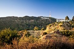 View of Hollywood sign in Los Angeles Stock Images