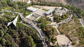 View of the holocaust memorial museum in Jerusalem top view of a quadcopter. Yad Vashem on the hillside on the outskirts stock video footage