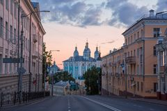 View of the Holy Dormition Cathedral in the city of Smolensk Royalty Free Stock Images