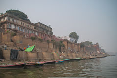 A view of Holy Ghats of Varanasi Stock Photos