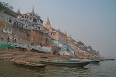 A view of Holy Ghats of Varanasi Stock Image
