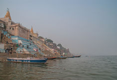 A view of Holy Ghats of Varanasi Stock Photo