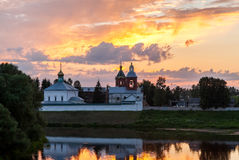 View on the Holy Spirit Monastery in sunset in Borovichi, Russia Royalty Free Stock Image