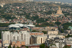 View of Holy Trinity Cathedral and Public Service Hall Tbilisi. Royalty Free Stock Image