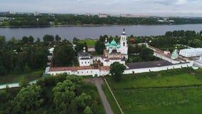 View of the Holy Vvedensky Tolgsky convent. Yaroslavl, Russia aerial video stock footage