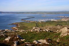 View from Holyhead Mountain. To Holyhead Port and marina Royalty Free Stock Images