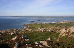 View from Holyhead Mountain. To Holyhead Port and marina Royalty Free Stock Image
