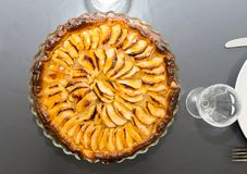 View of homemade apple pie tart. View of a  homemade apple pie tart Royalty Free Stock Image