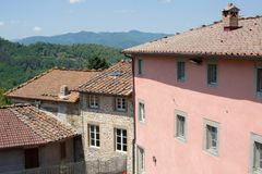 View of homes in the historic village of Benabbio. In the Province of Lucca, Tuscany, Italy royalty free stock photos