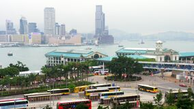 View of Hong Kong Central Pier Bus Station, Kowloon, Victoria Harbour, Day 4k