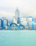 View of Hong Kong city center. Beautiful view on Hong Kong Downtown on a foggy day stock photo