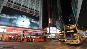 View of central Hong Kong city at night stock video