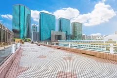 View of Hong Kong harbor from ferry terminal observation deck Royalty Free Stock Photos