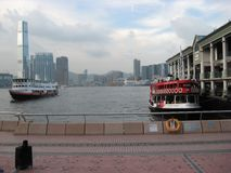 View of Hong Kong harbour from near the Star ferry pier, Hong Kong stock images