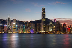 View of the Hong Kong Island's skyline at dusk Royalty Free Stock Images
