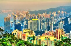 View of Hong Kong Island from Victoria peak Royalty Free Stock Image