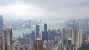 View from Hong Kong peak on cloudy day stock video footage