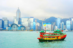View on Hong Kong from the sea. Beautiful panoramic view on Hong Kong city center on a foggy day stock image
