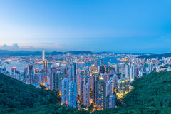 View of Hong Kong during sunset hours Royalty Free Stock Photos