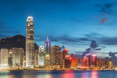 View of Hong Kong during sunset hours Stock Photography