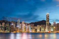 View of Hong Kong during sunset hours Stock Photo