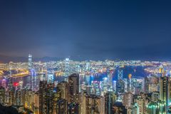 View of Hong Kong during sunset hours Stock Images