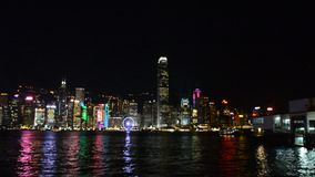 View of Hongkong by night stock video footage