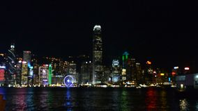 View of Hongkong by night stock footage
