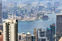 View of Hongkong urban and Victoria harbor Stock Images