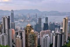 View of Hongkong Victoria harbor, 2016. View of Hongkong urban and Victoria harbor from Taiping peak, 2016, Hongkong is a developing economy center in Asia Royalty Free Stock Photo