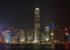 View of the Honk-Kong skyline at night Stock Images