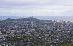 View of Honolulu and Diamond Head. A view of Honolulu, Oahu, Hawaii and Diamond Head volcanic crater Stock Photography