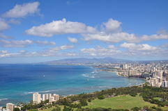 View on Honolulu from Diamond Head Crater - Oahu Stock Image