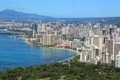 View at Honolulu from Diamond Head Stock Photo