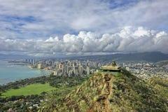 Overlooking Honolulu, Hawaii from the top of Diamond Head trail stock photo