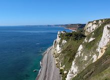 View of the Hooken undercliff on the Beer to Branscombe walk in Devon, England. This is accessible by walking the coastal path royalty free stock images