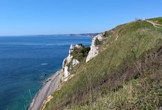 View of the Hooken undercliff on the Beer to Branscombe walk in Devon, England stock photography